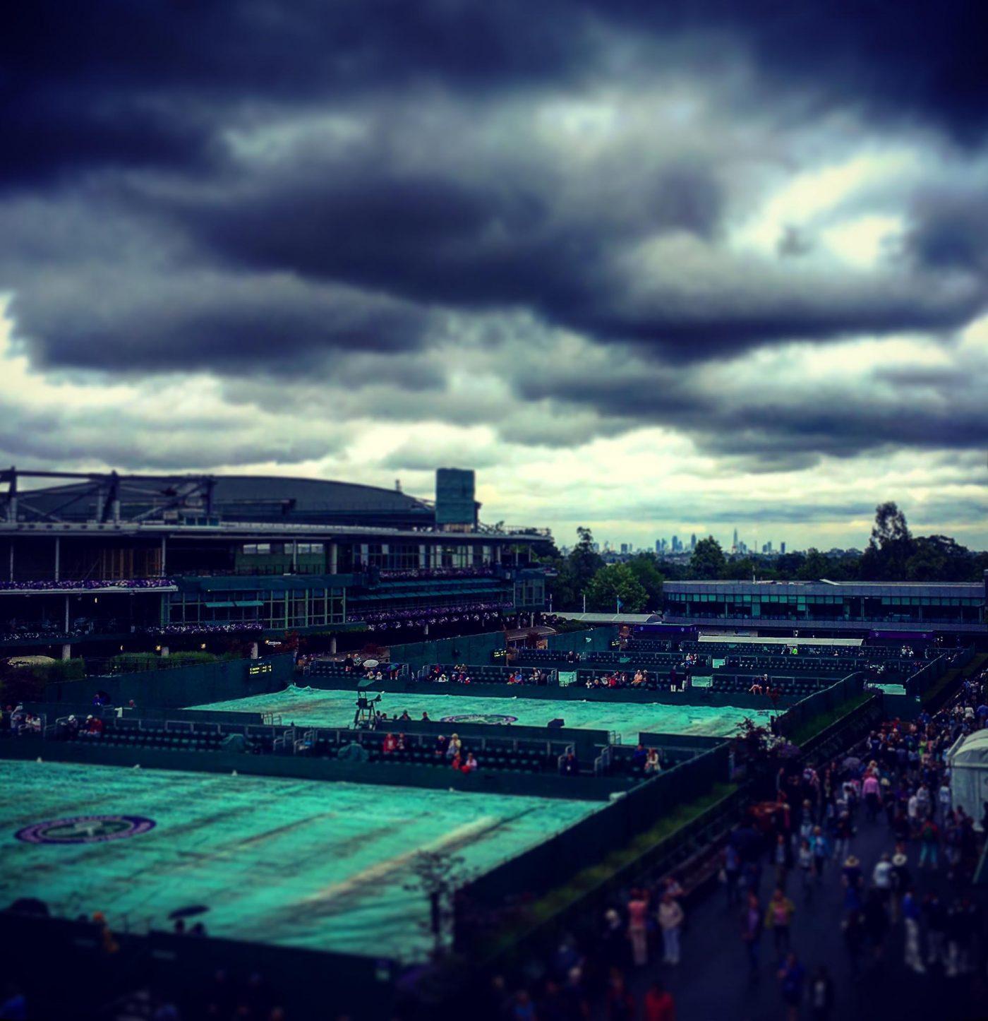 Rain covers Wimbledon Tennis