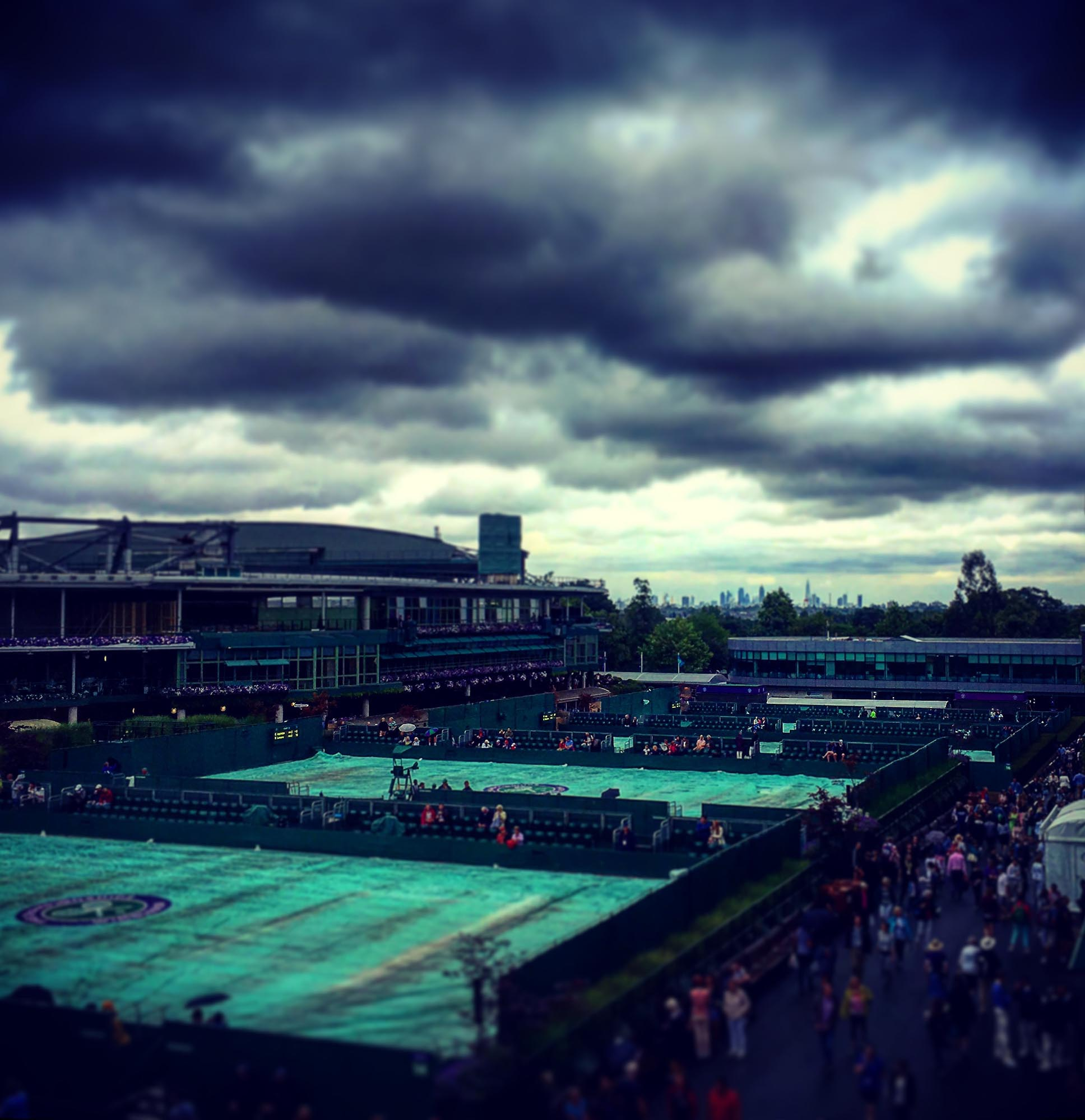 Rain covers Wimbledon Tennis